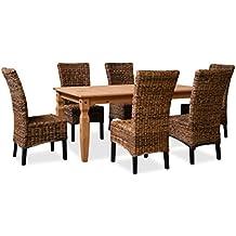KMH®, Esszimmer Sitzgruppe (6 Rattanstühle Aus Dickem Bananengeflecht Und 1  Massiver Esszimmertisch)