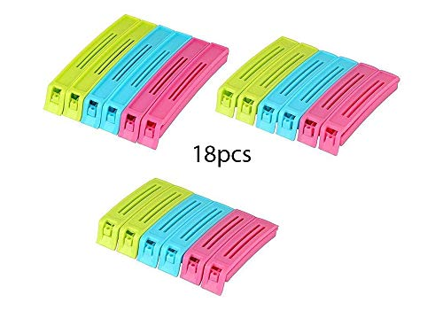 Gambit Multipurpose Food Snack Plastic Bag Clip Sealer/Packet Sealer Clamps/Manual Vacuum Bag Sealer/Food Pouch Clip/Bag Zipper for Home Kitchen (Multicolor) -18pc