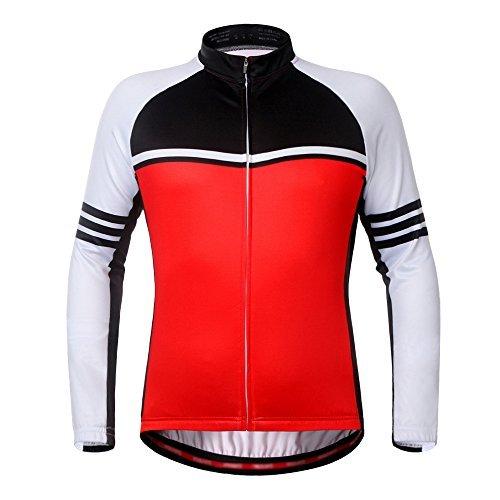 iPretty Unisex Fahrradbekleidung Winter Fahrradjacke Damen Herren Rennrad Jacke Mountainbike Herbst Winddicht Warm Outdoorjacke Atmungsaktiv Langarm Jacke-Rot-L