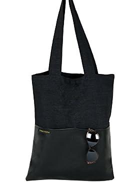 Shopper / Tote Bag / Einkaufstasche / Umhängetasche / Baumwolle / Unisex / schwarz / Kunstleder