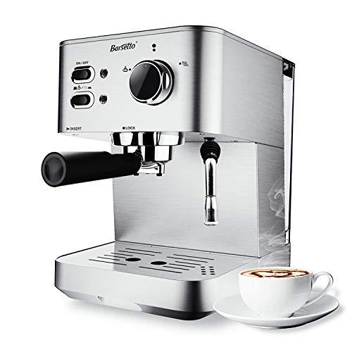 Barsetto Espresso Kaffeemaschine Kaffeemaschine 15 Bar Edelstahl Kaffeebrühmaschine mit unabhängiger Milchaufschäumer für Cappuccino, Latte und Mokka (Silber)