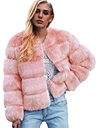 178ed8b46d2f FNKDOR Womens Ladies Warm Faux Fur Coat Jacket Solid Winter Gradient Parka  Outerwear UK 12-