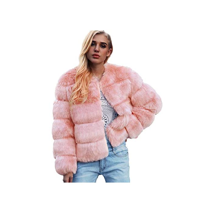 URSING Damen Warm Kunstpelz Mantel Einfarbig Winter Parka Oberbekleidung Kurz Mantel Coat Pelzmantel Faux Fur Kunstfell…