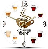 ASSDF Kaffee Wall Clock,30cm Types Of Espresso'S Cup Coffee Shop Kitchen Wall Clock Coffee Wall Sign For B