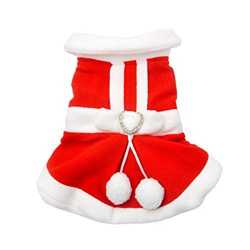 Weihnachten Revers Fliege Kostüme Hunde Rot Mantel Weihnachtsmann Cosplay Winter Kleidung mit kleinen niedlichen weißen Bälle Warme Kleid für Welpen Haustiere Rot M