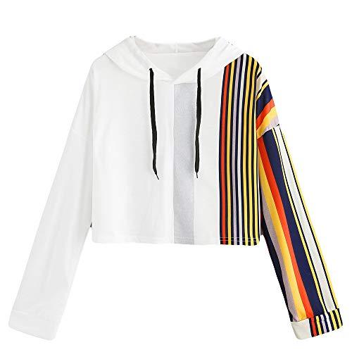 MYMYG Damen Shirts Tees Tops Pullover Sweatshirts Pulli Hoodie Elegant Hemden Langarm Blusen Tuniken, Gedruckt Patchwork (B1-Weiß,EU:44/CN-XL) (Hässliche Tee Pullover)