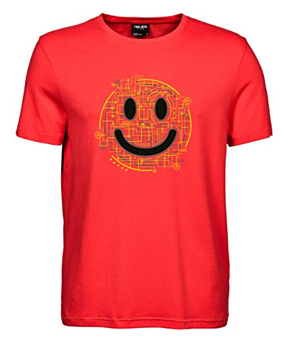 makato Herren T-Shirt Luxury Tee Electric Smiley Coral