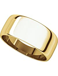 9ct Yellow Gold, Light Half Round Wedding Band 8MM (sz H to Z5)