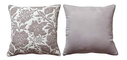 PimpamTex - Jeu taies d'oreiller Jacquard avec Rembourrage, Pack de 2 Coussins pour décoration de Maison. Salon, Chambre, chaises, canapé et lit, 55 x 55 cm, modèle Jacquard Floral - 55_x_55_cm Sable