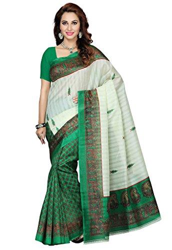 ISHIN Bhagalpuri Silk Green & Beige Printed Women's Saree  available at amazon for Rs.499