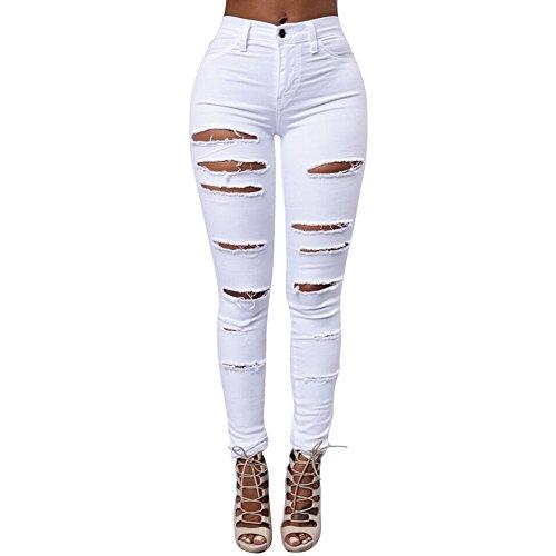 a95184037442 iBaste Jeanshose Damen Stretch Hose Zerrissen High Waist Bleistifthose Jeans  Hose Skinny Hochbund R .