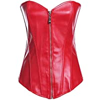 NDBBWG Corsé Frontal Cremallera Todos los días Cintura Shapers Adelgazar Apliques Shapewear Body Mujer Bustier Cuero Corsé, Rojo, XXL