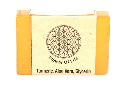 Flower of Life Handmade Transparent Turmeric Aloe vera Glycerin Soap