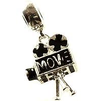 Charm cine movie cámara de cine vintage Plata de Ley 925 compatible con Pandora   Abalorios para pulseras