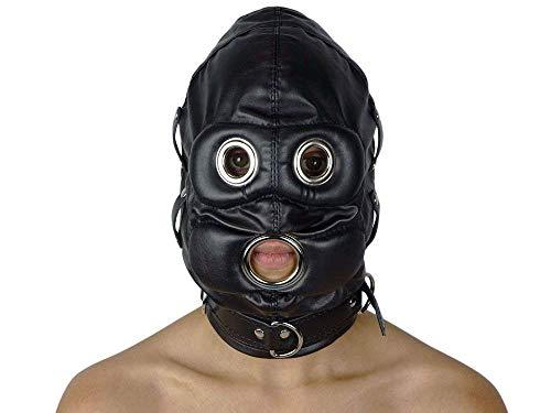 Bondage Maske,Cosplay Spiel Kapuze,SM Kopfharness Leder mit Reißverschluss Abschließbar Bondage Maske,BDSM Erotik Kopfmaske,Erlebe Erstickenden Sex (Einfach Cosplay Kostüm Für Anfänger)