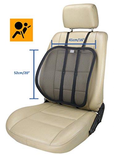 ObboMed® SM-7400B extra große verstellbare ergonomisch geformte atmungsaktive Rückennetzstütze Sitzauflage, besonders sichere Befestigung (optional vertikal oder horizontal) zur Haltungskorrektur beim Sitzen, Abmessungen 50x40cm, für Fahrzeugsitze, aber auch im Büro oder zu Hause, Schwarz
