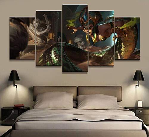 WYCQT Leinwanddrucke 5 Stücke League of Legends Cassiopeia Spiel Poster Wohnzimmer Wandkunst Wohnkultur Kein Rahmen Größe B
