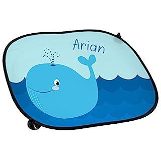Auto-Sonnenschutz mit Namen Arian und schönem Motiv mit Wal für Jungen | Auto-Blendschutz | Sonnenblende | Sichtschutz
