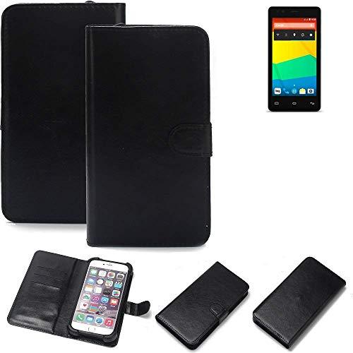 K-S-Trade 360° Wallet Case Handyhülle für BQ Readers Aquaris E4.5 Schutz Hülle Smartphone Flip Cover Flipstyle Tasche Schutzhülle Flipcover Slim Bumper schwarz, 1x
