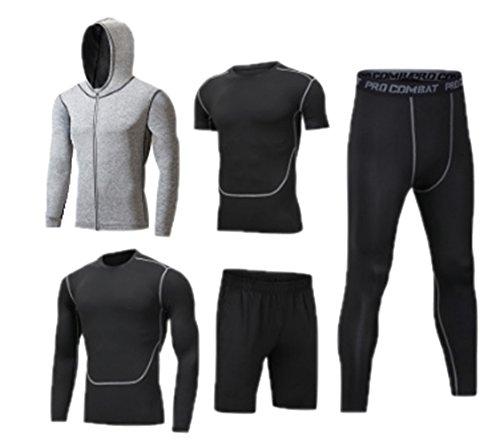 Mens Fitness Gym Kleidung Set, Sport Laufen Yoga Wear Übung Kleidung 3/5 Pcs