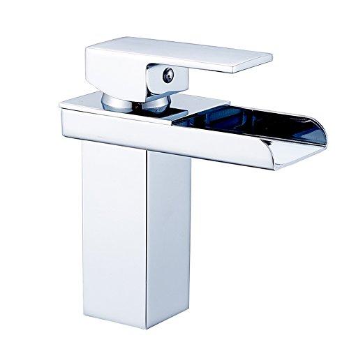 Waschbecken voll Kupfer Wasserhahn Wasserfall Becken Wasserhahn einzigen Loch heißen und kalten Wasser Wasserhahn Bühne Waschbecken ( größe : 155mm )