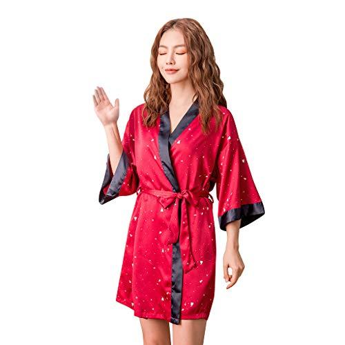 Committede Damen Morgenmantel Kimono Bademantel Satin Nachthemd Nachtwäsche Schlafanzüge Morgenmantel Kimono Bademantel Satin Kurz Robe Nachthemd Nachtwäsche - Knit Womens Pyjamas