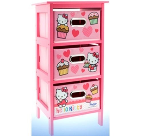 HELLO KITTY STORAGE CABINET 3 DRAWER BEDROOM TOYS CLOTHS KIDS PINK FURNITURE