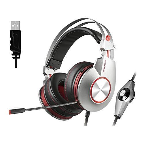 PL XIBERIA K5 Stereo Gaming Headset für PS4/PC/MAC, Noise Cancelling OverEar Kopfhörer mit Mikrofon, Surround Sound silber