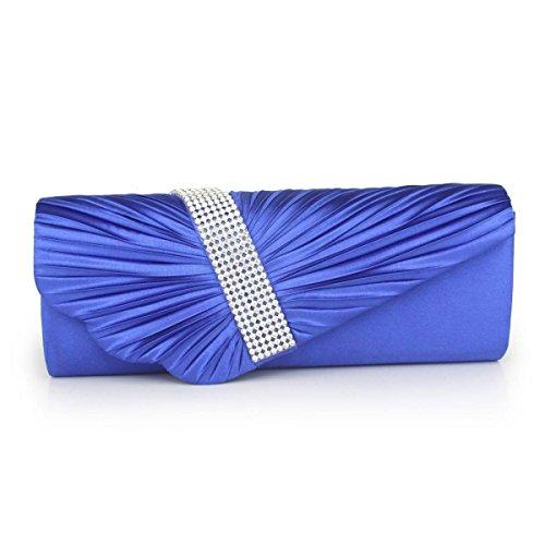 Pochette Da Sera A Mano In Raso Decorato A Pieghe Blu