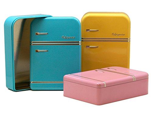 AVENUELAFAYETTE Boîte métal Réfrigérateur vintage couleur (Jaune)