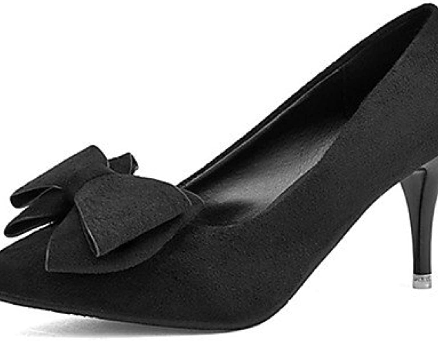 ZQ Zapatos de mujer-Tac¨®n Stiletto-Tacones-Tacones-Casual-Vell¨®n-Negro / Bermell¨®n / Verde Oscuro , black-us8...