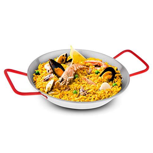 Royalford Paella-Pfanne, Edelstahl, ergonomisches Design, mit Griffen, spülmaschinenfest, umweltfreundlich, zum Kochen von spanischen Köstlichkeiten