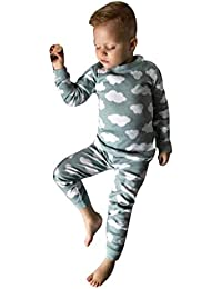K-youth Ropa Bebe Otoño Invierno Infantil Recién Nacido Niño Casual Nube Impresión Camisas de Manga Larga Pijama Moda Tops + Pantalones Largos 0-3 años Bebé Ropa Conjunto