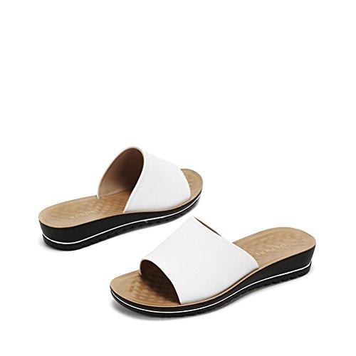 Estate Zeppe casual donne pantofole/Joker tondo testa scarpa/ un tacco basso Sandali e infradite donna A