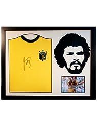 Socrates - Framed Signed Brazil Shirt - Silhouette