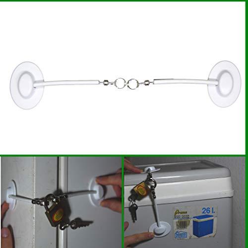 Sicherung für Kühlschrank, Gefriertruhe, Werkzeugschrank und Haushaltsgeräte zum Kleben, mit Vorhängeschloss abschließbar I stabiles Drahtseil, Rückstandslos entfernbar, Klebeschloss, weiß