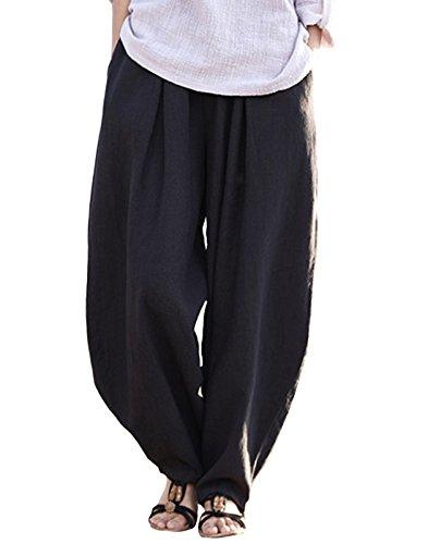 HAPPY CHERRY Damen Elastische Taillen Haremshose Weite Beinen Baumwolle Leinen Pumphose Freizeithose Vintage Ballonhose mit Taschen