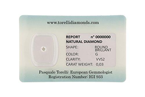 Torelli Diamante Certificato da Investimento in Blister  Taglio Brillante Colore G Purezza VVS1, Peso 0.03 Carati   Diamanti Naturali Certificazione IGI Anversa