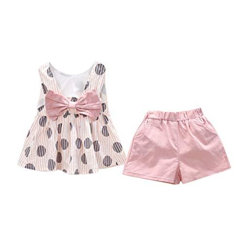 Tyoby Baby Mädchen Polka Dot Bogen Weste + Shorts zweiteilig,Sommer Süßer Kleidungssatz(Rosa,130)