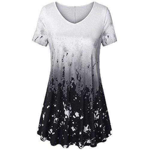 (Yanhoo Damen Kurzarm V-Ausschnitt Traditionelles Handwerk lässig Top Tunika Blusenshirt T-Shirt Einteiliger Rock Print Loose Mode Blusenkleid Strandkleid Sommerkleid (M, Grau))