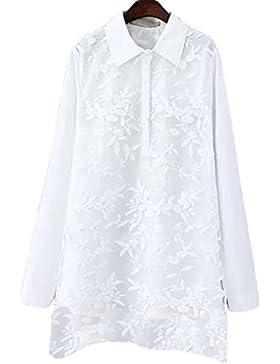 Primavera Patios Grandes Mujeres Falsificación Dos De Encaje Camisa De Manga Larga Blusa