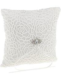 Magideal Almohadilla de Anillo de Satén Impreso con Flor de Terciopelo con Diamante Artificial Blanco Decoración de Cama de Ceremonia