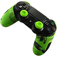 DOTBUY Silicone Case Denso Metà Custodia Protettiva per PS4 x 1 + 2 Controller analogico puntina manopole Cap (Camo Green)