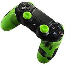 PS4 Silicone Case Custodia Protettiva Cover spessa per PS4 PS4 Slim PS4 Pro + 2 Controller Thumb Grips (Camuffare Verde)