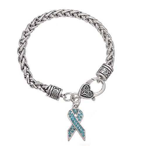 Skyrim Inspirierende Anti-Breast Band Krebs Anhänger, Gravur Buchstaben mit Hope für Frauen Armband (hellblau)