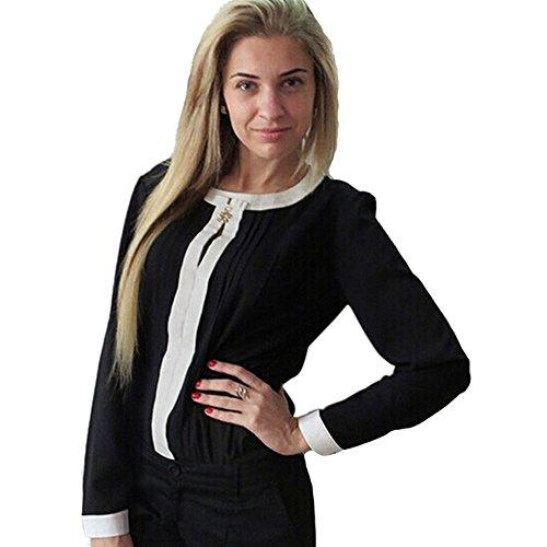 Eleery Chiffon Hülsen-beiläufige Hemd-Bluse Frauenbluse Fit langärmelig T-Shirt Schwarz