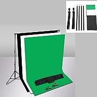 MVpower Kit Fondo Fotográfico Estudio Backdrop Kit de Tela - 2 x 3 m Soporte de Fondo + 1.6 x 2 m Telón de Fondo No tejido Color Negro, Verde y Blanco + Blosa de Transporte