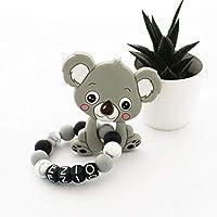 """Hochet de dentition koala""""Ezio"""", en perles en silicone, personnalisé avec le prénom de Bébé"""