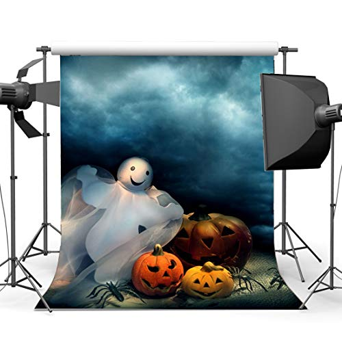 BuEnn Halloween Horror Nacht Hintergrund 3X5FT Vinyl Scary Ghost Allerheiligen Kulissen HLack Spinne Kürbisse Fotografie Hintergrund für Kinder Baby Hallowmas Maskerade Fotostudio Requisiten
