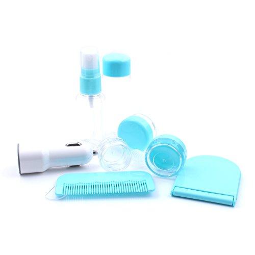 iProtect 10in1 Reiseset inklusive KFZ-Ladegerät – praktische Tasche mit mehreren Flüssigkeitsbehältern für Make-Up, Cremes, Shampoo u.Ä. in Blau (Ladegerät Flugzeug Ipad)